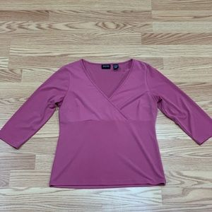New York & Co.   Mauve Crossover Stretchy Blouse M